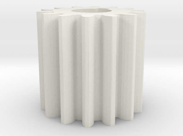 Cylindrical gear Mn=1 Z=14 AP20° Beta0° b=15 HoleØ in White Natural Versatile Plastic