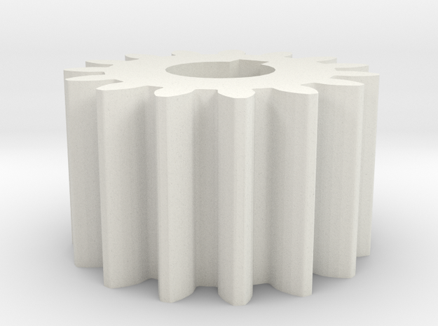 Cylindrical gear Mn=1 Z=15 AP20° Beta0° b=10 HoleØ in White Natural Versatile Plastic