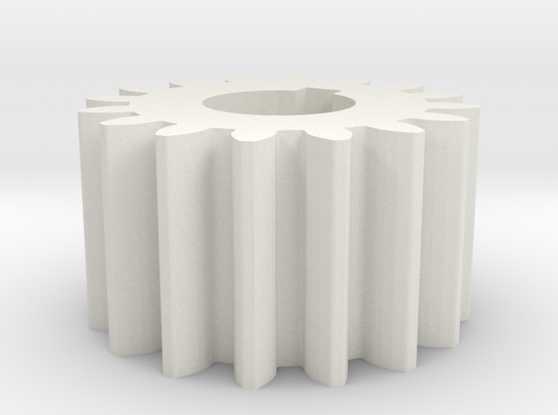 Cylindrical gear Mn=1 Z=16 AP20° Beta0° b=10 HoleØ in White Natural Versatile Plastic