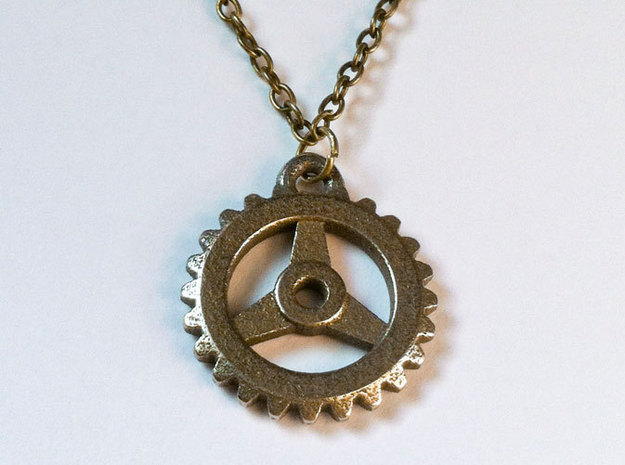 Gear Pendant in Stainless Steel