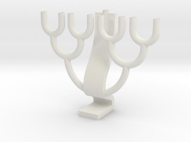 Binary Tree Menorah in White Natural Versatile Plastic