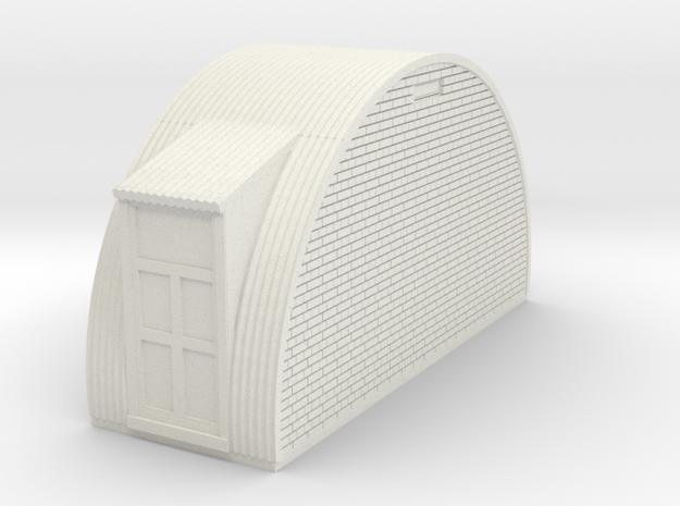 N-76-end-brick-nissen-hut-2-doors-1a in White Natural Versatile Plastic