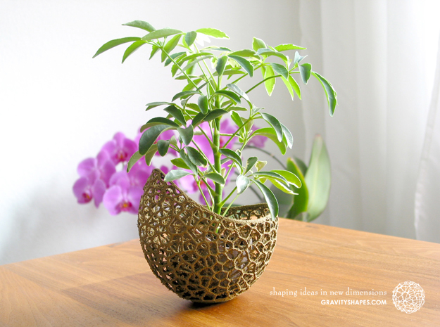 A burgeoning capsule Planter with small Pot in White Strong & Flexible