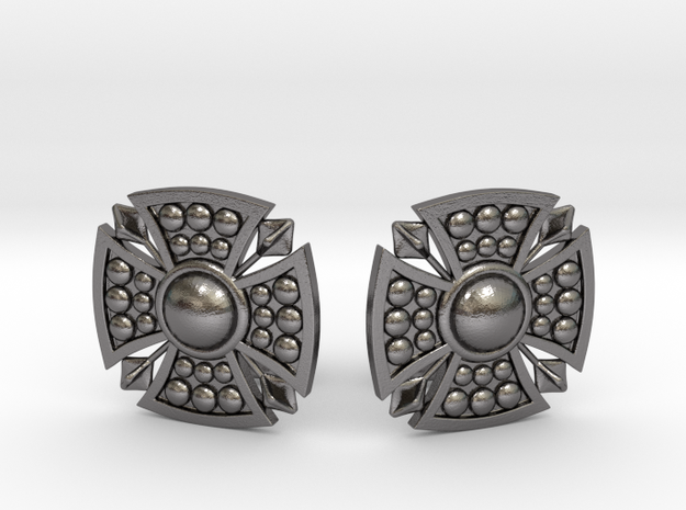 Designer Shield Cufflinks in Polished Nickel Steel