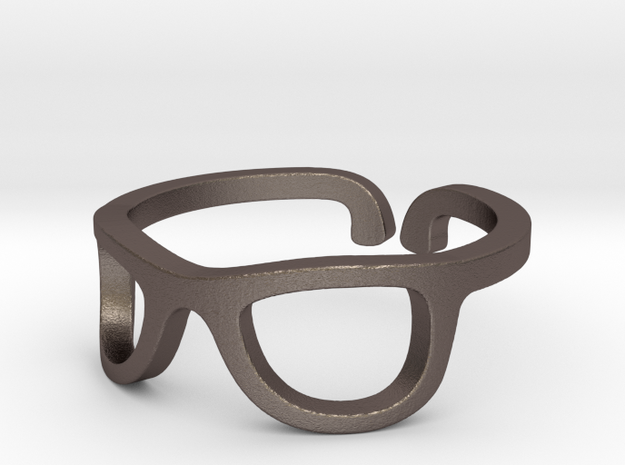 Glasses Ring Ring Size 7.25 in Polished Bronzed Silver Steel