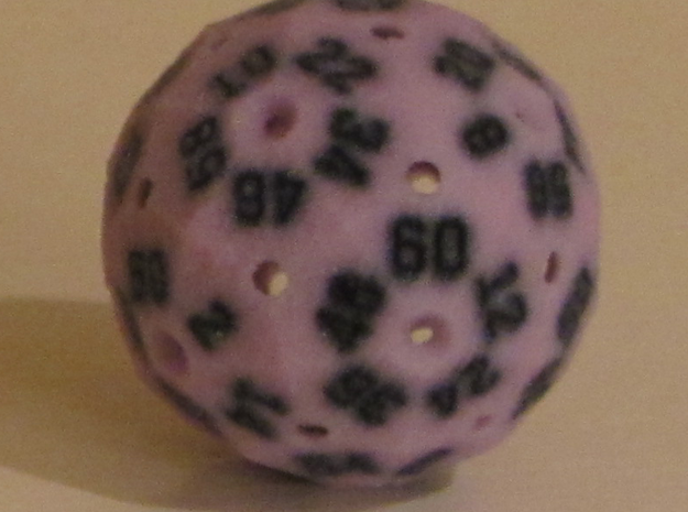 Small Hollow Purple D60 3d printed In Full-color Sandstone.