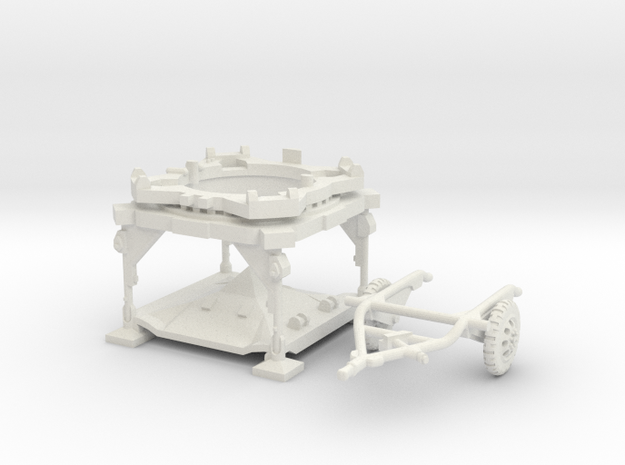 1:100 V2 Rocket Launch Platform and dolly in White Natural Versatile Plastic
