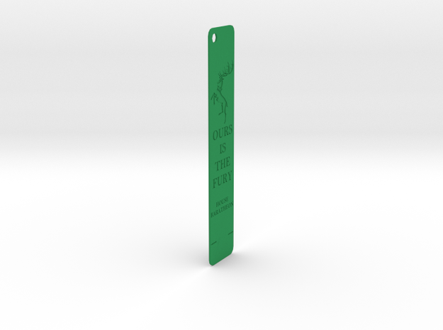 Baratheon Bookmark in Green Processed Versatile Plastic: Medium