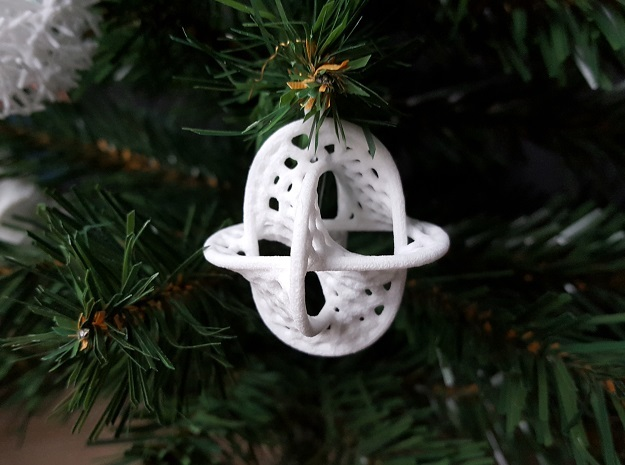 Borromean Christmas Bauble in White Strong & Flexible