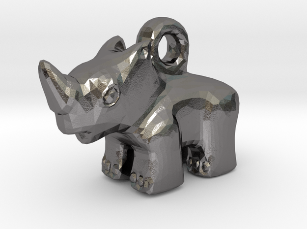 Baby Rhino Pendant in Polished Nickel Steel