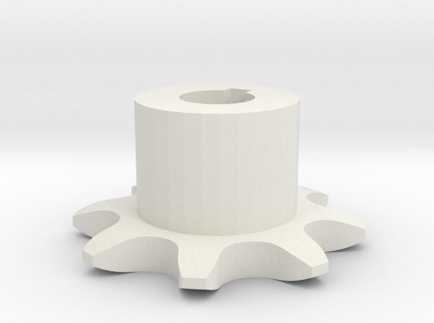 Chain sprocket ISO 05B-1 P8 Z8 in White Natural Versatile Plastic