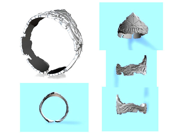 Cloud Ships Lightning, Ring Size 8 3d printed