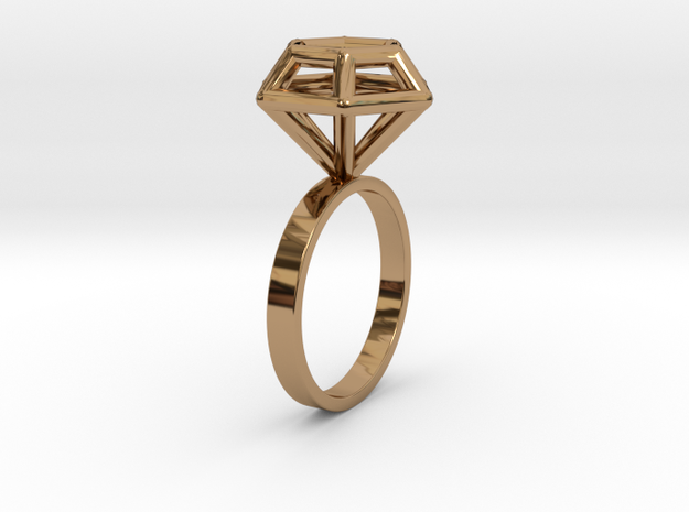 Wireframe Diamond Ring (size 6) in Polished Brass