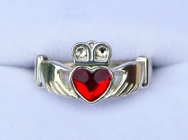 Claddagh With Gems Size 7 - NO GEMS in Polished Silver