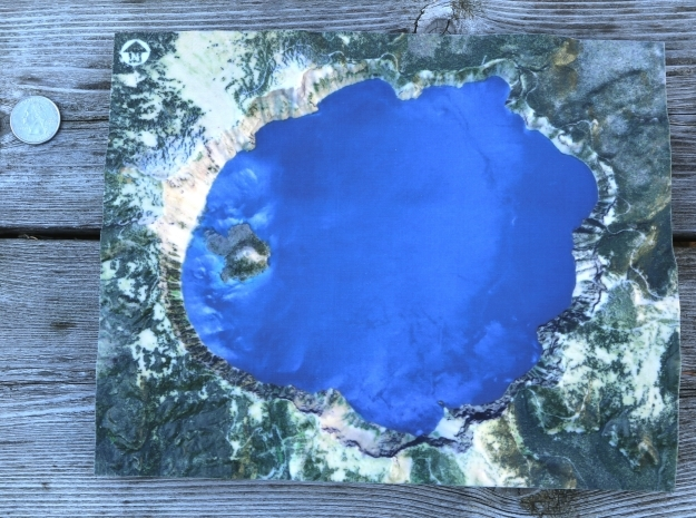 Crater Lake Map, Oregon in Coated Full Color Sandstone