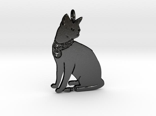 Lucky Cat Pendant in Matte Black Steel