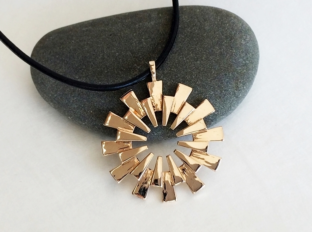 Pendant - 3D Printed Sun in Fine Metals 3d printed Beautiful Sun pendant in polished bronze.