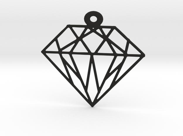 Diamond Pendants in Black Natural Versatile Plastic: Small