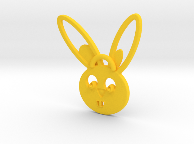 Rabbit pendant in Yellow Processed Versatile Plastic