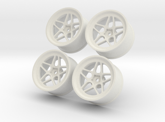 1.10 Touring Car Vossen LC104 Wheels Set in White Natural Versatile Plastic