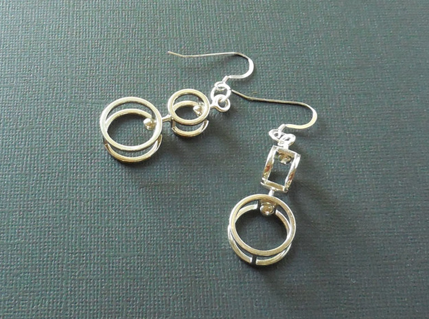 Double Double  -- Earrings in Interlocking metal