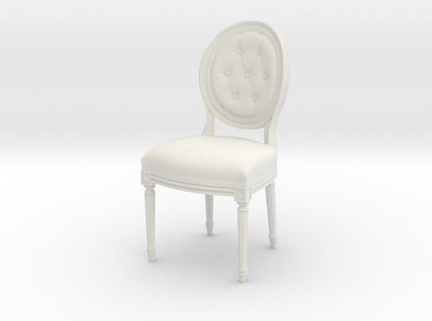 1:12 Louis XVI Side Chair in White Natural Versatile Plastic