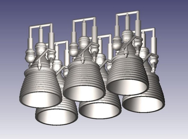 J-2 Engines (1:144 Set of 6) in Smooth Fine Detail Plastic