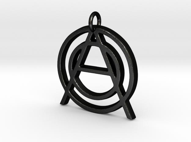Monogram Initials OOA Pendant  in Matte Black Steel