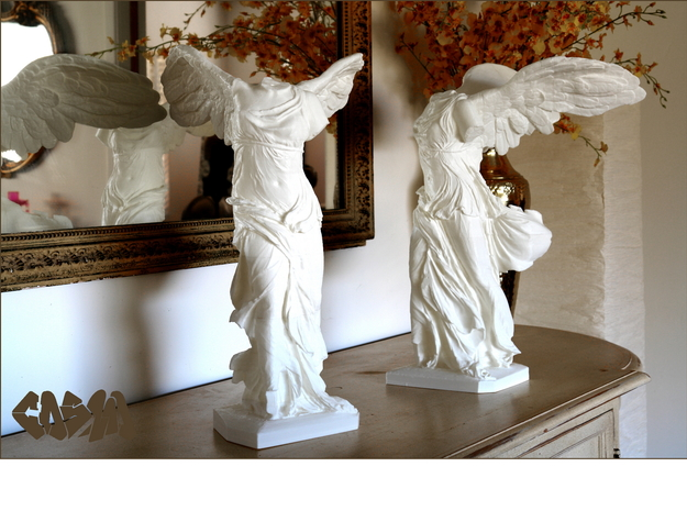 """Winged Victory (20"""" tall) in White Natural Versatile Plastic"""