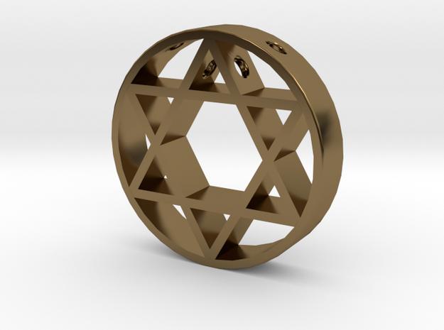 David Star pendant for men. in Polished Bronze