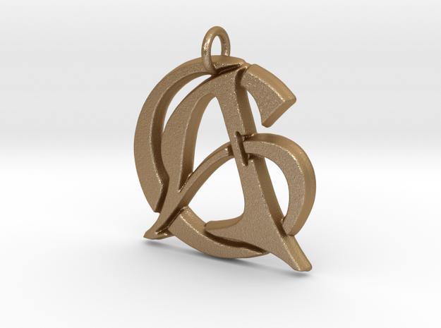Monogram Initials AC Pendant  in Matte Gold Steel