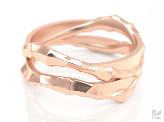 Full Dual Voronoi Ring in 14k Rose Gold Plated: 6.5 / 52.75