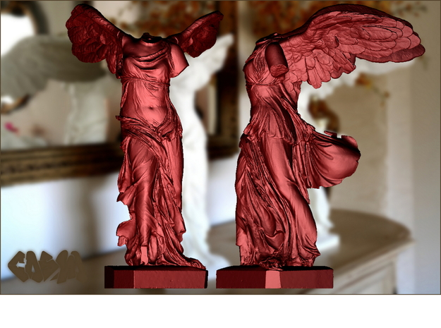 "Winged Victory (10"" tall) 3d printed Winged Victory of Samothrace (computer rendering, shown in red for contrast)"