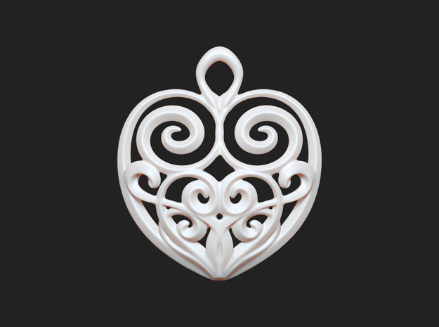 Heart-shaped Pendant 30mm 3d printed