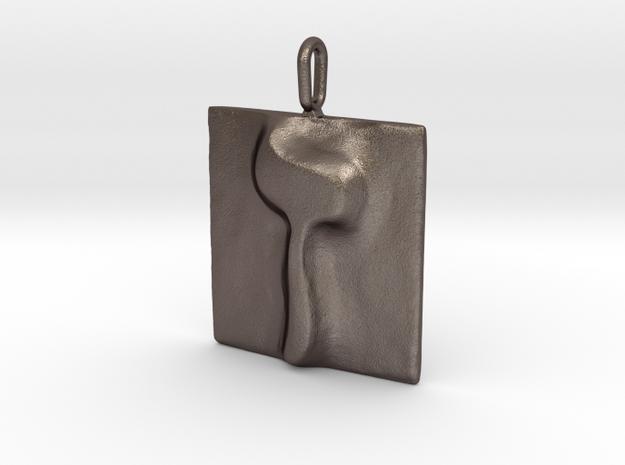 07 Zayn Pendant in Polished Bronzed Silver Steel
