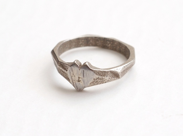 Faceted Heart Ring  in Polished Bronzed Silver Steel: 7 / 54