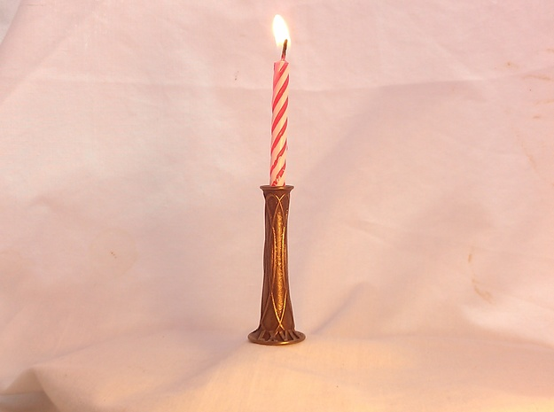 Birthday Candle Holder- Customizable Metal in Polished Bronze Steel
