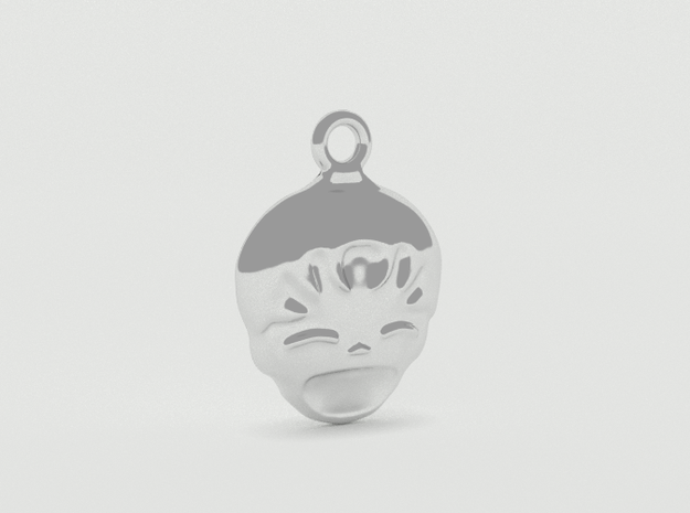 Smiling Child - head - Design for pendant/earring  3d printed Silver preview 2