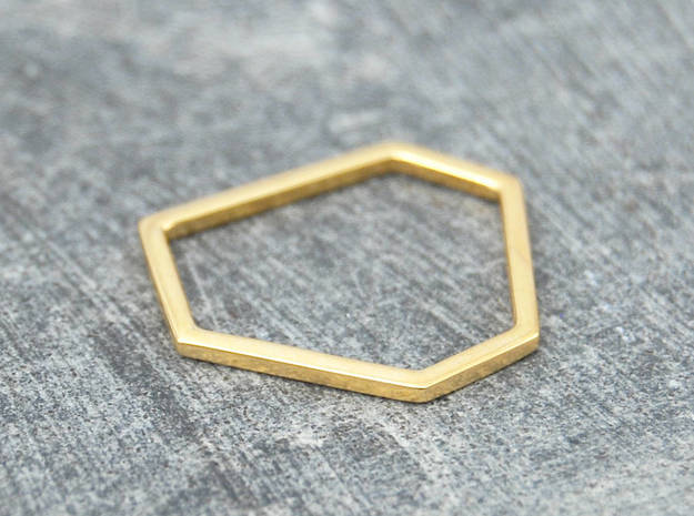 Squashed Hex Ring Sizes 6-10 in 14k Gold Plated: 6 / 51.5