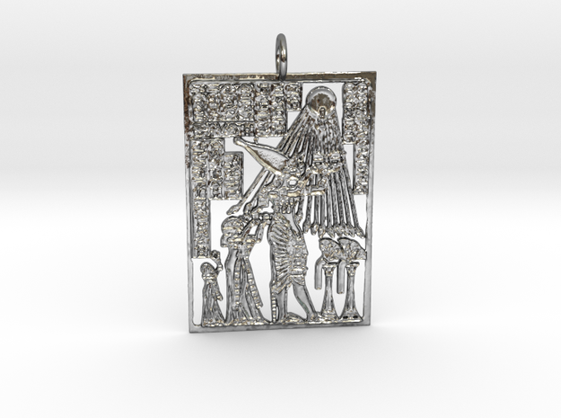Kemetic Scene Pendant in Polished Silver
