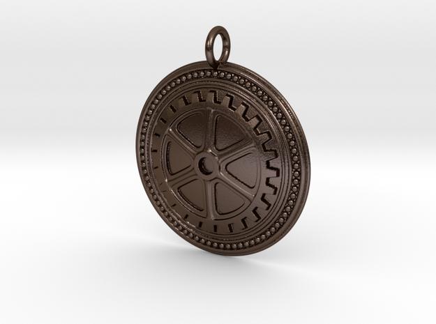 Embossed Gear in Polished Bronze Steel