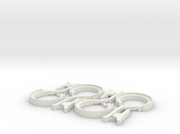 Unibody Clothes Pin - Set of Four (4) in White Natural Versatile Plastic