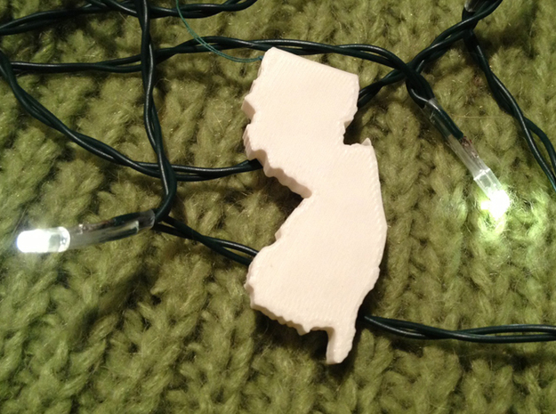 New Jersey Christmas Ornament 3d printed Sample print with a Makerbot Replicator 2