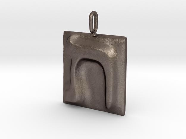 22 Tav Pendant in Polished Bronzed Silver Steel