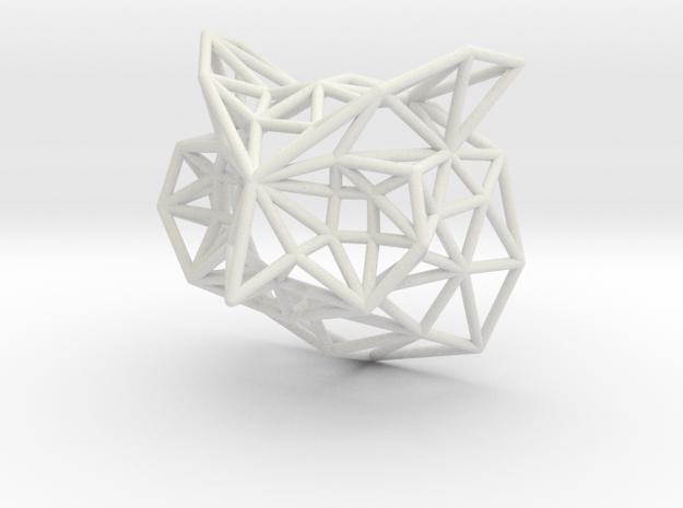 Owl head pendant in White Natural Versatile Plastic