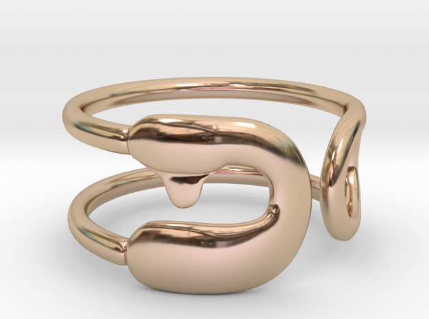 Safety Pin Ring in 14k Rose Gold Plated Brass: 4 / 46.5