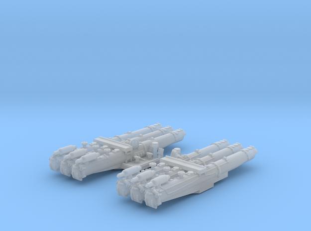 """1/600 WW2 RN 21"""" Triple Torpedo Mounts (2)"""