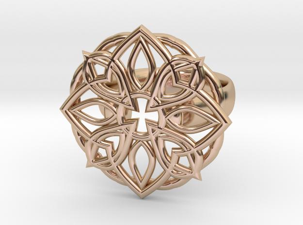 Mandala Petal Ring - Size 5 in 14k Rose Gold Plated Brass