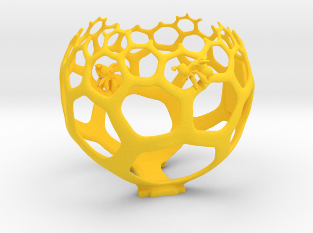 Honeycomb Spherical light projection Art in Yellow Processed Versatile Plastic