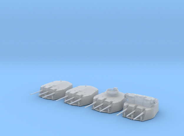 "1/350 RN Triple 6"" MKXXIII Turrets (4) HMS Fiji in Smooth Fine Detail Plastic"